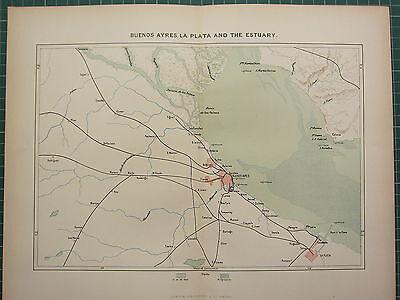 c1890 ANTIQUE MAP ~ BUENOS AYRES LA PLATA & THE ESTUARY SOUTH AMERICA