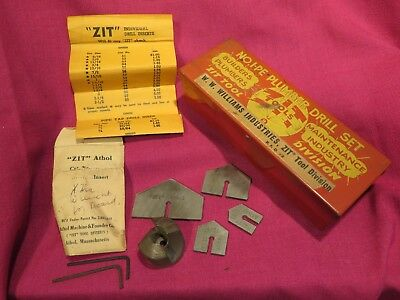 Vintage I-pe Plumber Drill Set Williams Zit Tools Milling Cutting Hole Saw Box