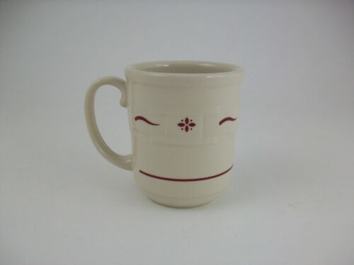1 Longaberger Pottery Woven Traditions Traditional Red Coffee Mug/Cup USA~EUC!