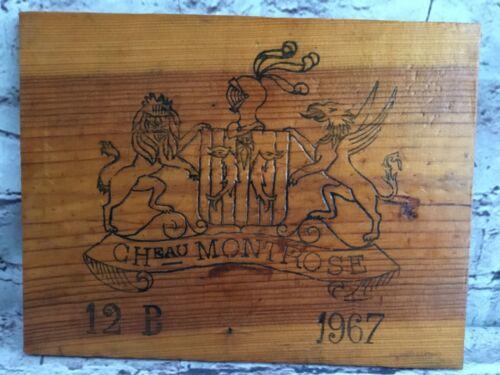 Vintage Wine Wood Board Engraved Cheau Montrose 12b 1967 with Crest Lion Griffin