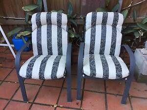 2 x ALUMINIUM FRAME OUTDOOR CHAIRS WITH PADDED CUSHIONS Pymble Ku-ring-gai Area Preview