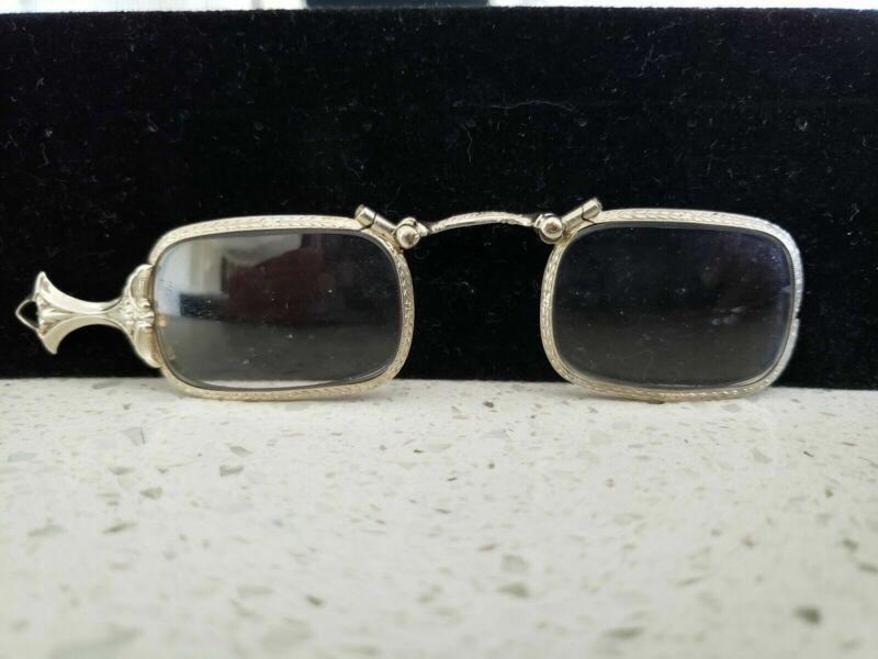 Antique 10k White Gold Lorgnette Folding Eyeglasses