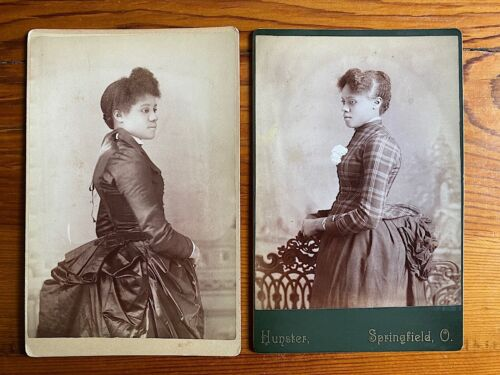 Pretty Black Woman in Beautiful Dress Springfield Ohio (2) Cabinet Card Photos