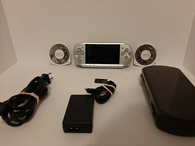 Sony PlayStation Portable PSP-3001 Silver Bundle w/Charger 2 Games New Battery