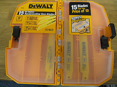 "NEW DEWALT 15 PACK BI-METAL RECIPROCTING SAW BLADES wBONUS TOUGH CASE 6"" DW4890 on Rummage"