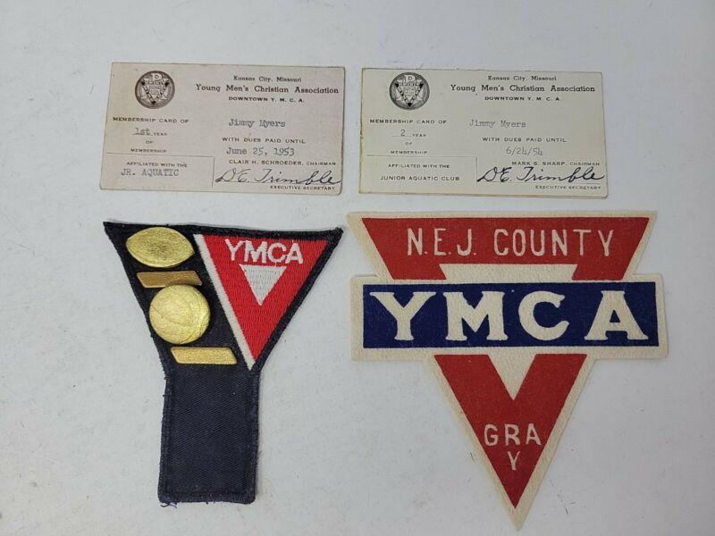 Vintage YMCA Kansas City Missouri Membership/Pins/Patch 1950s NEJ County RARE