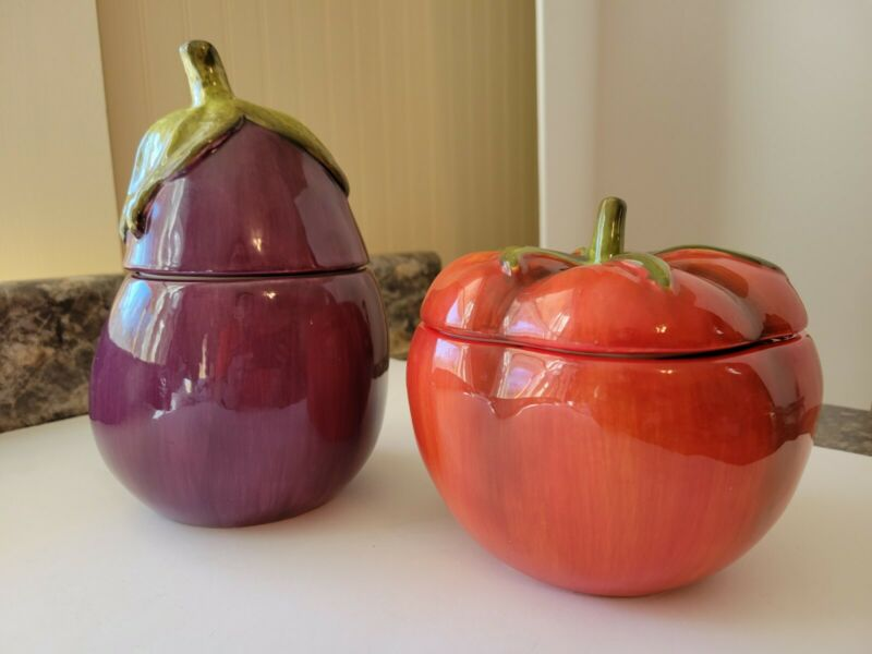 Vintage Home Interior Vegetable Canisters, Tomato & Eggplant, Mint Condition
