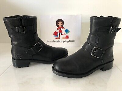 TORY BURCH BENNIE Black Leather Buckle Low Heel Moto Boots Size 7