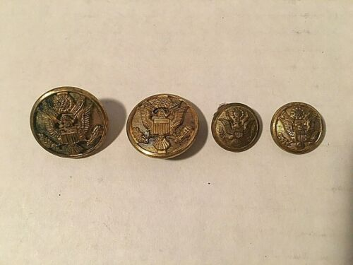 4 Vintage Brass Military Buttons with Eagle Crest