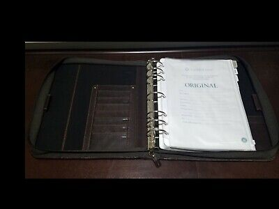 Franklin Covey Monarch Full Grain Leather Planner Brown 1.75 7 Ring