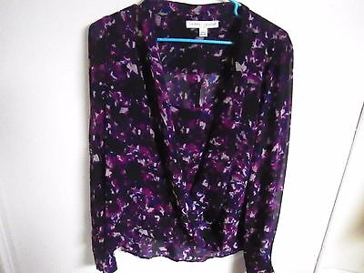 LARRY LEVINE LADIES SIZE LARGE PULL OVER Blouse TOP PURPLE SHEER DOUBLE BLOUSE
