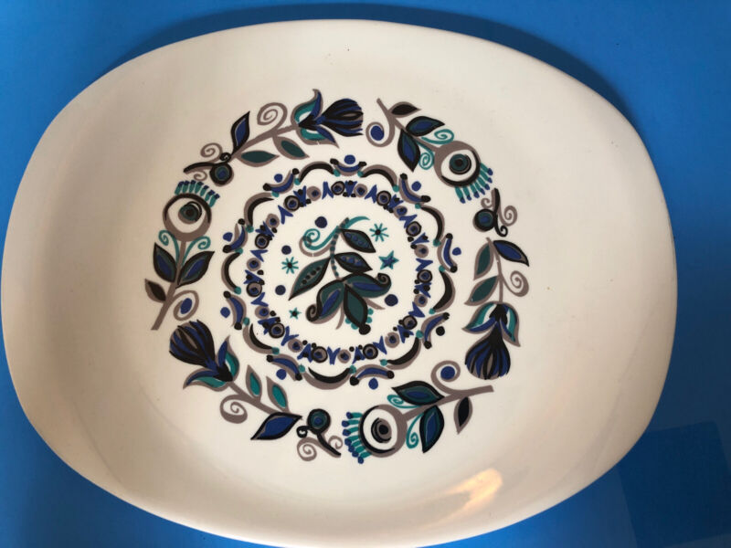 Ben Seibel Impromptu Iroquois White With Teal Flowers Large Serving Platter Dish