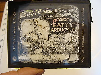 Silent MOVIE GLASS LANTERN SLIDE: roscoe fatty arbuckle, TERRIBLE SHAPE
