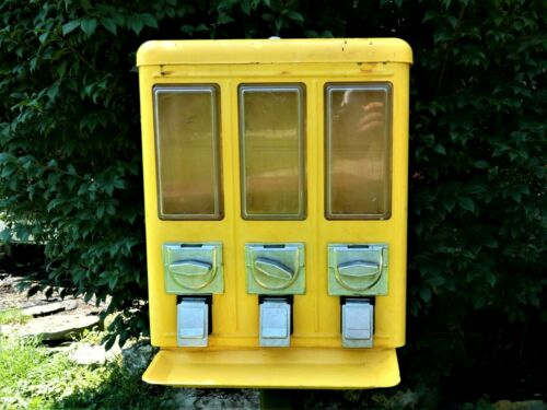 Vintage Yellow Triple Head Candy Machine