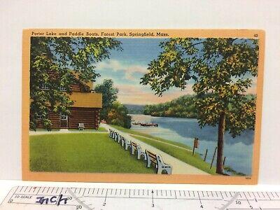 Massachusetts Springfield Porter Lake Paddle Boats Forest Park Linen Postcard
