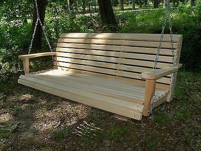 5ft REG Cypress Wood Wooden Porch Bench Swing WITH HANGING HARDWARE Made In USA