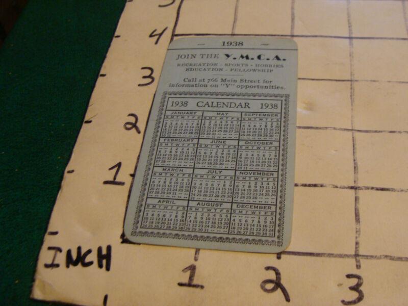 vintage business card: 1938 Y.M.C.A. Pocket Calendar