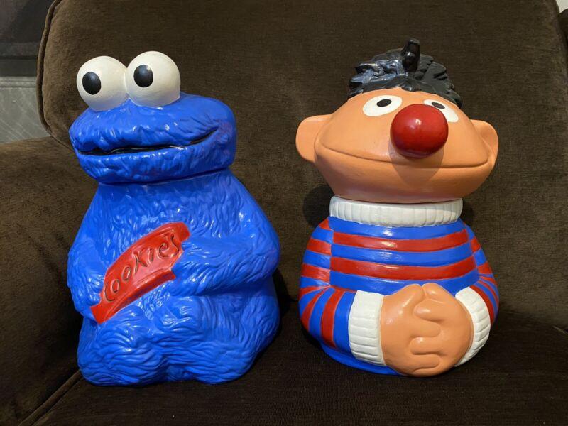 Cookie Monster & Ernie Cookie Jar Sesame Street 1970s Muppets Inc. Vtg Nostalgic