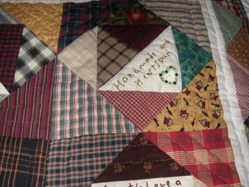 Handmade Patchwork Quilted Throw or Wall Hanging - Signed