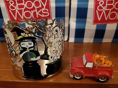 BATH & BODY WORKS HALLOWEEN CANDLE HOLDER. CANDLE TOPPER RED TRUCK INCLUDED NEW!](Work Halloween)