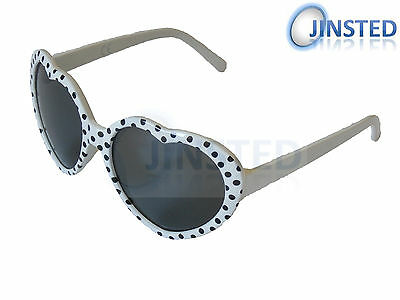 CHILDRENS WHITE HEART SHAPED SMALL SUNGLASSES BLACK SPOTS CHILDS KIDS KH003