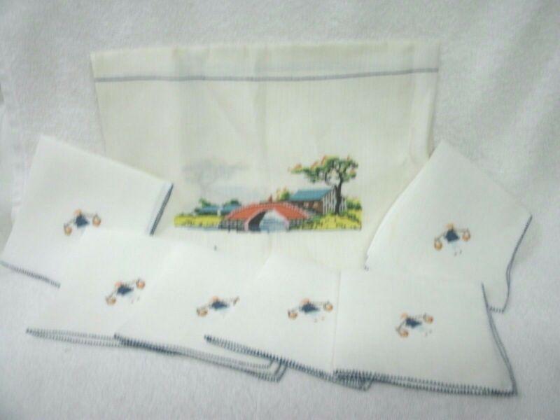 LINEN TABLECLOTH/NAPKINS--Asain Design --Hand Embroidered--Square-Unused Vtg
