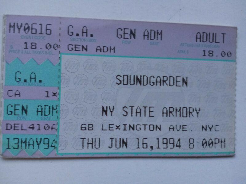 SOUNDGARDEN  RARE NYC 1994 CONCERT TICKET STUB