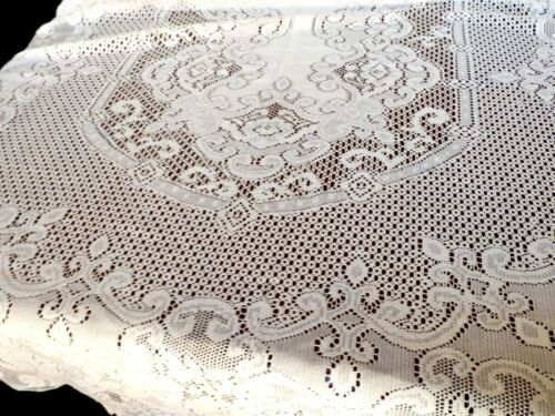 "VTG Ecru color Lace Tablecloth floral patern Quaker Oval 84"" x 59"" table decor"