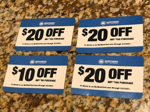 Lot 4 20 10 Northern Tool Coupons Expires 3/2/2021 In-Store Or Online Coupon - $4.99