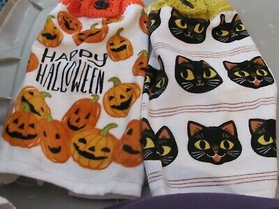 LOT OF 2 PLUSH HAND CROCHETED TOP KITCHEN TOWELS HAPPY HALLOWEEN/ CAT FACES