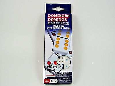 New 28 Piece Dominoes Double Six Color Dot Tiles Dominos Travel Game Kids Crafts