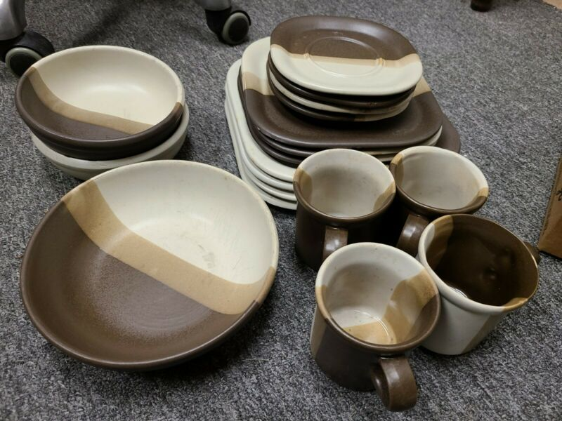 Vintage 18 McCoy Pottery Sandstone  Dinnerware Set, plates, bowls, Mugs, saucers