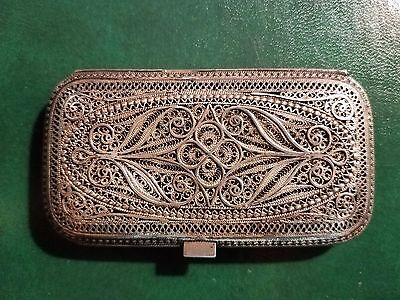 antique silver filigree case 3.25x1.75 inches, bought in Salonica