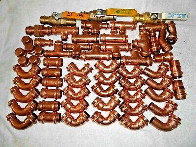 60 Lot 34 Propress Copper Press Ball Valve Union Elbows M-adapt Tees 45s