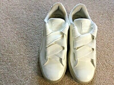 Authentic Puma Basket White Trainers With Oversized Laces - Size UK 5