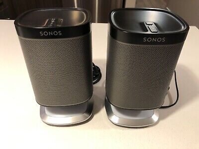 Two Sonos Play:1 Speakers with Bridge plus 2 Flexson light/usb hubs included