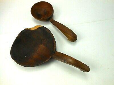 Two Vintage Haitian Wood Spoons Wooden Ware Folk Art