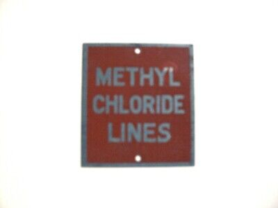 Methyl Chloride Lines Metal Sign Very Old 2-14 X 2 Red Silver