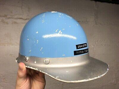 Vintage 1960s Msa Skullgard Fiberglass Safety Hard Hat White Blue Nice