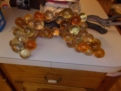 Vintage Orange Mid Century LUCITE/ACRYLIC Grapes (50 +)GRAPE Cluster W/DRIFTWOOD