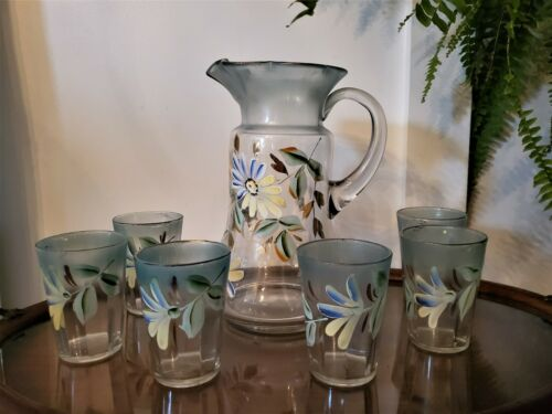 Stunning Antique Pitcher and Tumblers Hand painted Victorian Farmhouse Flowers