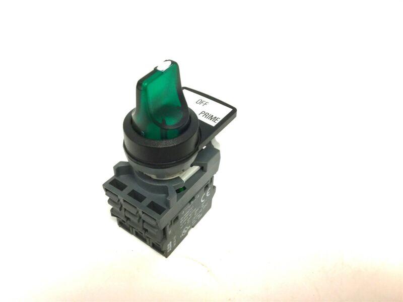 New ABB Selector Switch MLBL-04G GRN LED Lamp 110-130VAC, 2x MCB-10 NO Contact