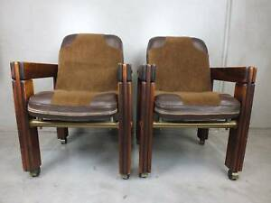 6 X INDUSTRIAL CHAIRS   WOOD VINTAGE RETRO   POST U0026 RAIL   DINING