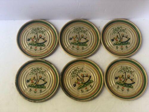 "SET of 6 Vintage Metal Tin Drink Coasters Midcentury Man Woman Kitsch 3"""
