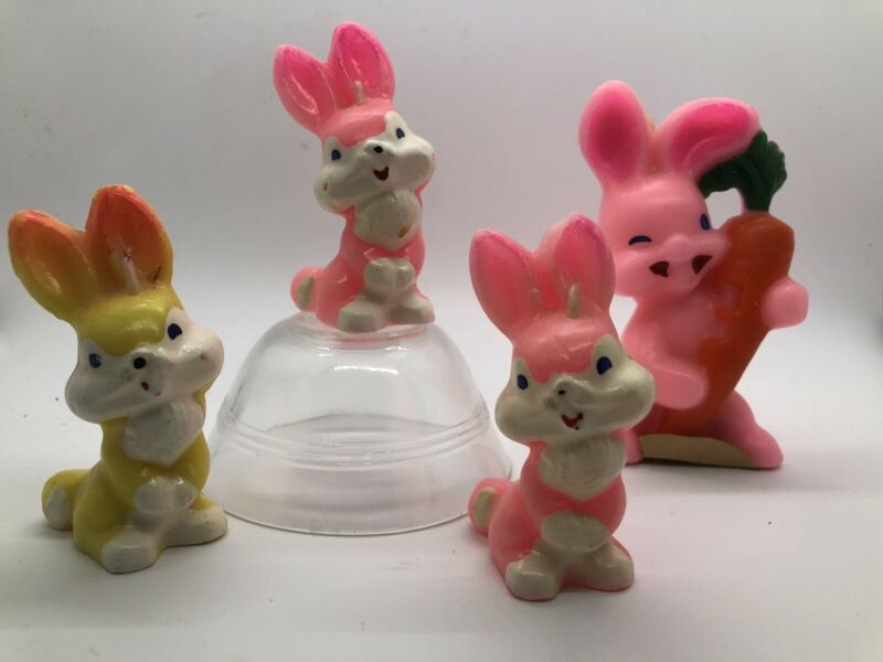 Lot of 34Vintage Gurley Easter Bunny Rabbit Pink Yellow Candles