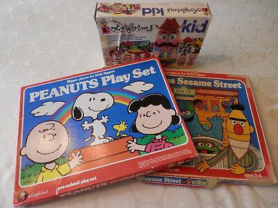 Vintage 1970s & 80s Colorforms Lot - Peanuts Sesame Street Coleco Colorforms Kid