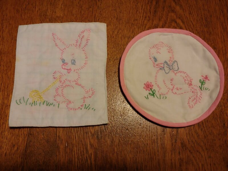 Pair Vintage Hand Embroidered Pot Holders Kitten and Bunny Rabbit