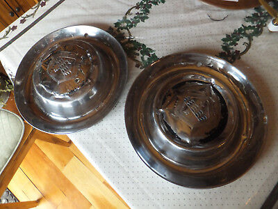 "2 Vintage 1950's 15"" Buick Chrome Large Dog Dish Bowl Hubcap Wheel Covers"