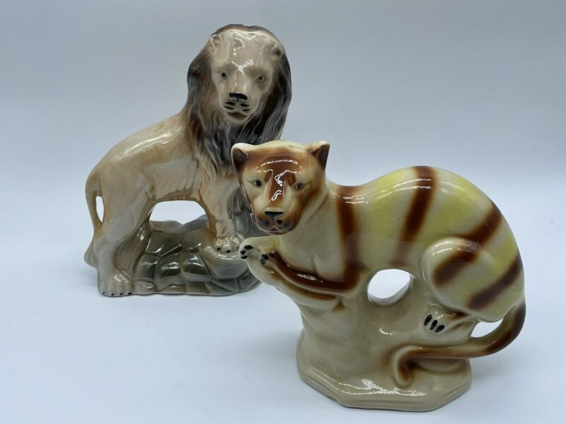 Pair of 2 Vintage Tiger & Lyon Striped Cats Porcelain Figurines Made in Brazil