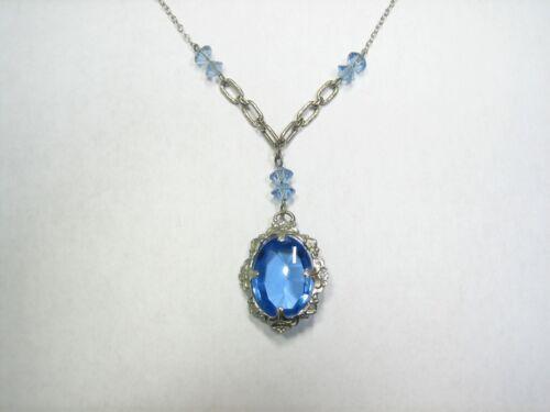 ANTIQUE VINTAGE CARLA GOLD-FILLED CZECH BLUE GLASS LAVALIER NECKLACE